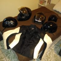 Womans Racing Leather Jacket & 5 size large helmets